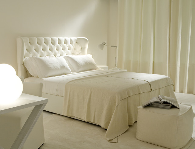 Queen Upholstered Headboard Bedroom Transitional with Curtains Drapes Monochromatic Neutral