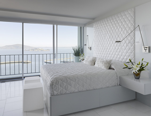 Quilted Headboard Bedroom Modern with Bedside Table Floral Arrangement