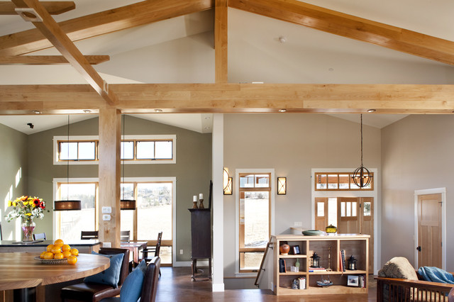 R20 Bulb Living Room Transitional with Cathedral Ceiling Ceiling Beams