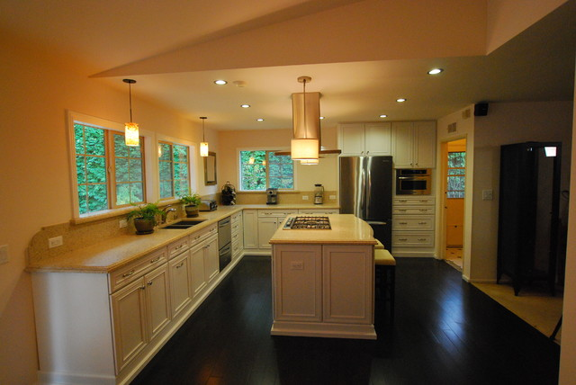 Rachael Ray Stoneware Kitchen Transitional with Cooktop Dark Floors Drop