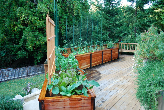 Raised Planter Box Deck Traditional with Balcony Farming Container Garden