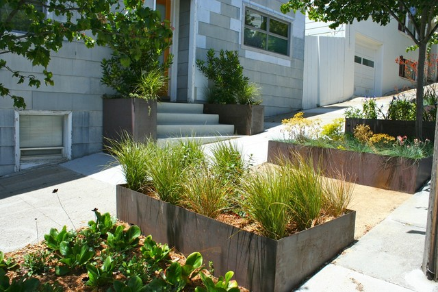raised planter box Landscape Contemporary with cor-ten curb appeal entry