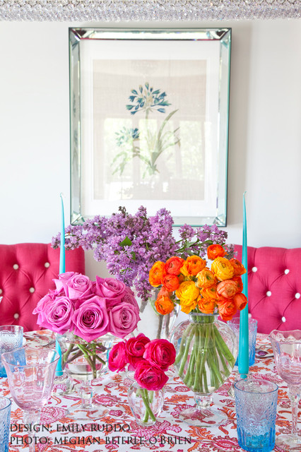 Ranunculus Bouquet Dining Room Transitional with Art Benjamin Moore Pain
