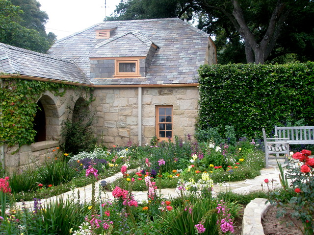 Ranunculus Bouquet Landscape Farmhouse with Arched Wall Openings Cottage