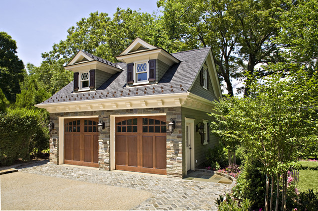 Raynor Garage Door Garage and Shed Traditional with Brick Paving Carriage House