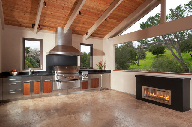 rcs grills Deck Traditional with black countertop cathedral ceiling