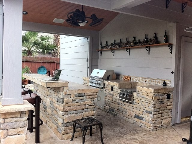 Rcs Grills Patio Contemporary with Artistic Tile Bar Bar