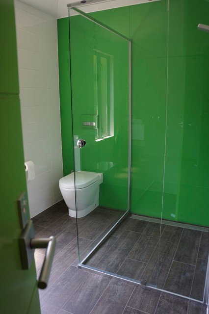 Rear Discharge Toilet Bathroom Contemporary with Coloured Glass Contemporary Toilet