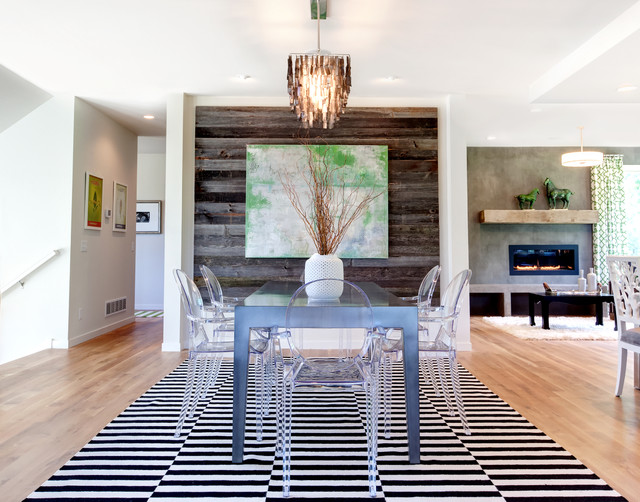 reclaimed wood nyc Dining Room Contemporary with abstract art black and