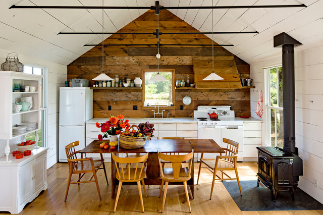 Reclaimed Wood Nyc Kitchen Farmhouse with Accent Wall Captains Chair