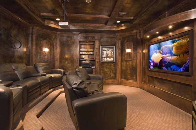 Reclining Couch Home Theater Traditional with Brown Carpet Brown Faux