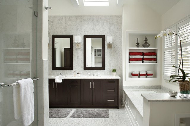 Recollections Storage Bathroom Transitional with Beige Wall Double Bathroom