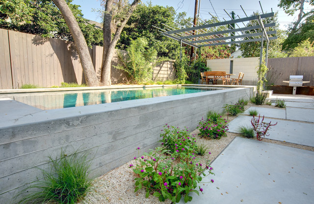 Rectangle Above Ground Pool Landscape Modern with Backyard Concrete Wall Grasses