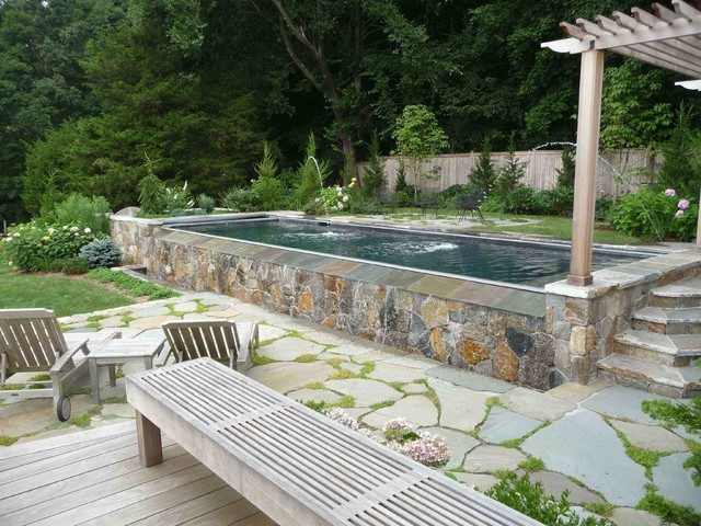 Rectangle Above Ground Pool Pool Beach with Coping Flagstone Fountains Gate