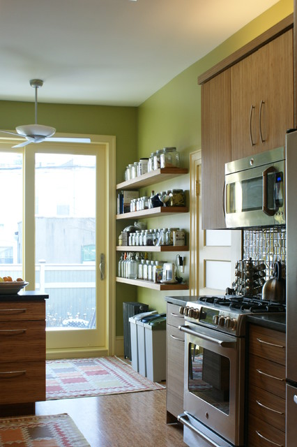 Recycle Trash Cans Kitchen Traditional with Bamboo Bright Colors Ceiling