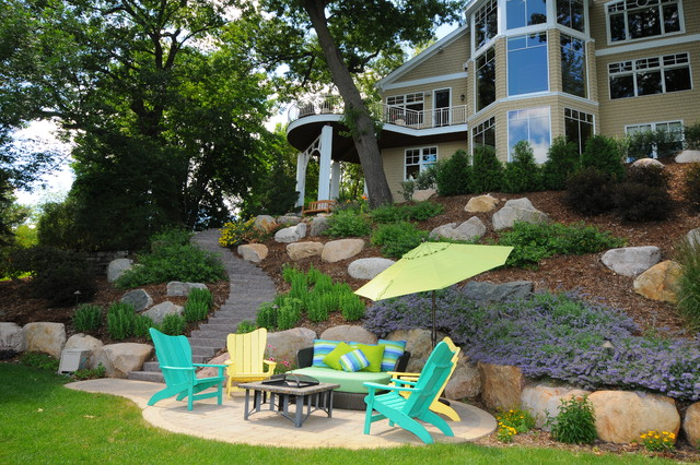 Recycled Plastic Adirondack Chairs Landscape Contemporary with Back Yard Landscaping Balcony