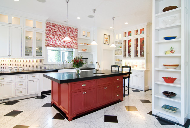 Red Checkered Tablecloth Kitchen Traditional with Black and White Checkered
