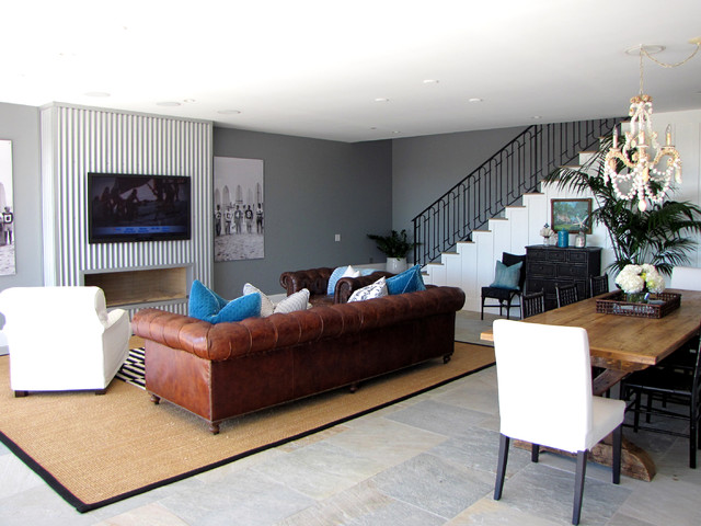 Restoration Hardware Leather Sofa Family Room Beach with Accent Wall Area Rug