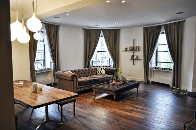 Restoration Hardware Leather Sofa Living Room Contemporary with Bookshelves Ceiling Lighting Chesterfield