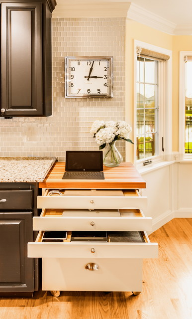 Retractable Power Cord Spaces Transitional with Butcher Block Creative Storage