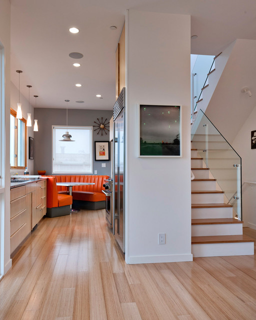 Rheem Heat Pump Kitchen Contemporary with Accent Wall Bamboo Flooring