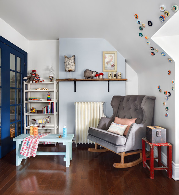 Rocking Recliner Chair Nursery Contemporary with Antiques Baby Room Blue