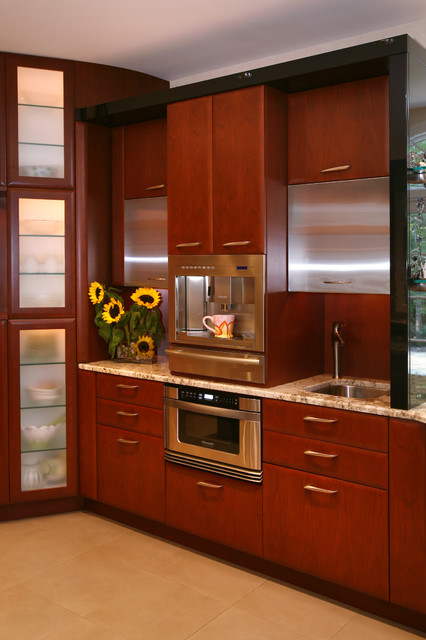 rok espresso maker Kitchen Contemporary with ceiling lighting cherry wood