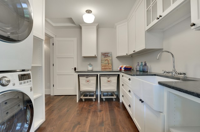 Rolling Cart with Drawers Laundry Room Transitional with Apron Sink Bar Faucet