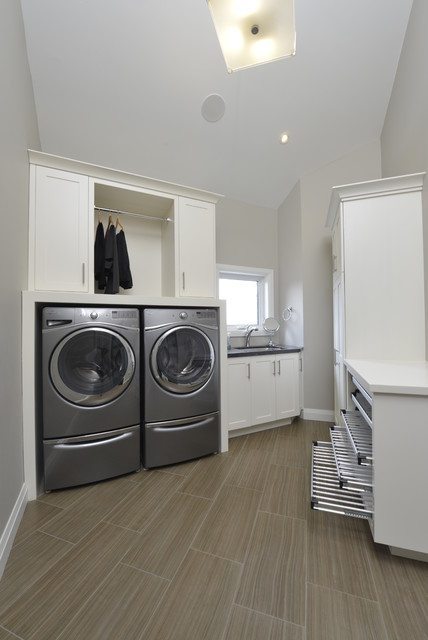 Rolling Garment Rack Laundry Room Contemporary with Built in Cabinets Clean Laundry