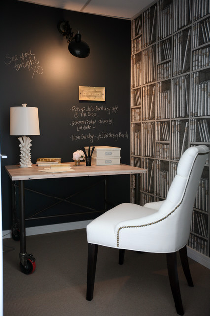 Rolling Whiteboard Home Office Traditional with Black Board Chalk Wall