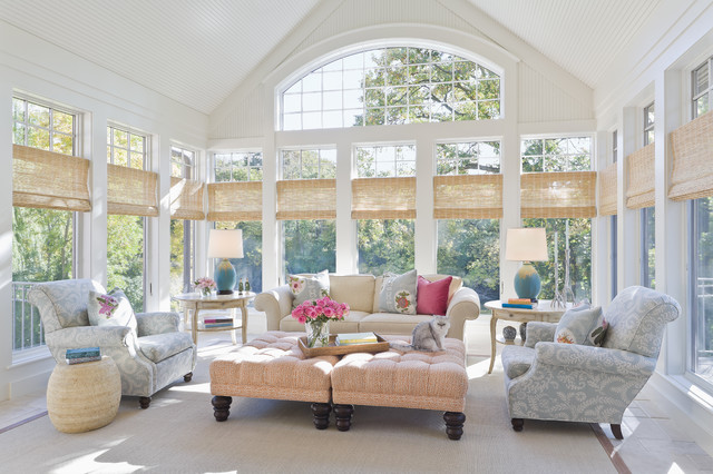 Room Darkening Blinds Sunroom Traditional with Arched Window Area Rug