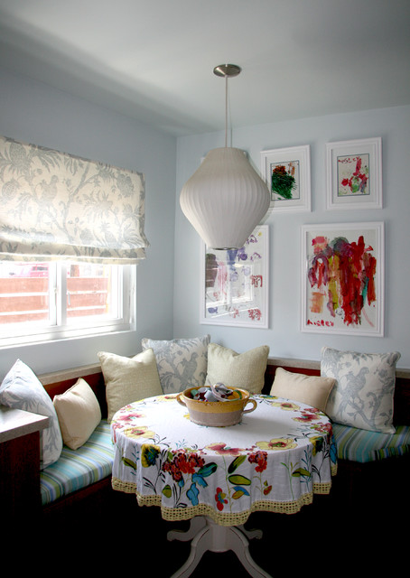 Round Tablecloth Dining Room Eclectic with Artwork Banquette Breakfast Nook