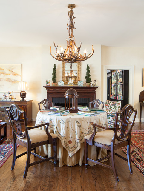 round tablecloth Dining Room Traditional with antler chandelier area rugs