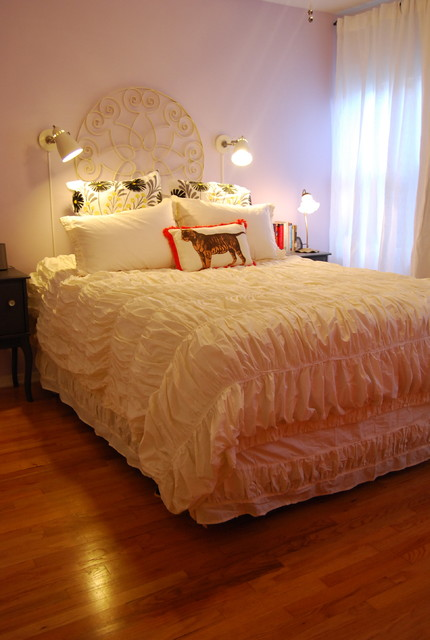 Ruched Comforter Bedroom Eclectic with Bed Pillows Curtains Decorative