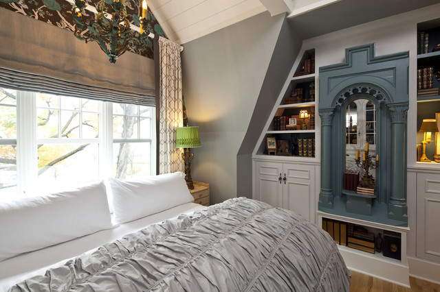 Ruched Comforter Bedroom Traditional with Beams Bookshelf Built In