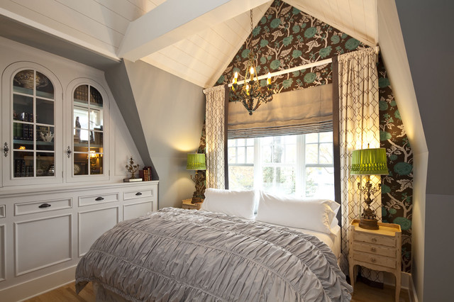 Ruched Comforter Bedroom Traditional with Beams Built in Cabinets
