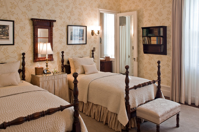 Ruffled Tablecloth Bedroom Traditional with Baseboards Bedside Table Bookshelves