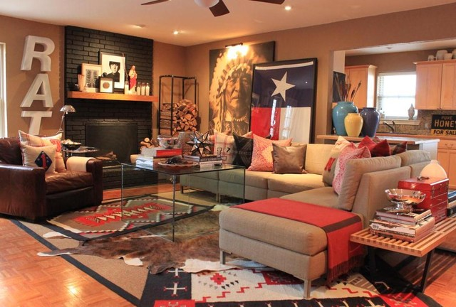 Rug Depot Living Room Southwestern with Brick Fireplace Chair Coffee