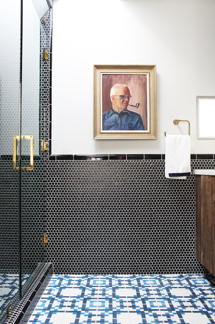 Sauder Tv Stands Bathroom Contemporary with Black Penny Tile Blue
