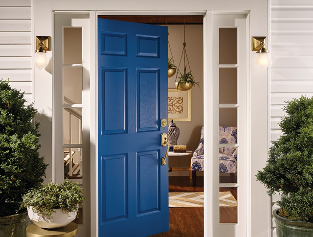 Schlage Camelot Entry Transitional with Door Hardware Front Door