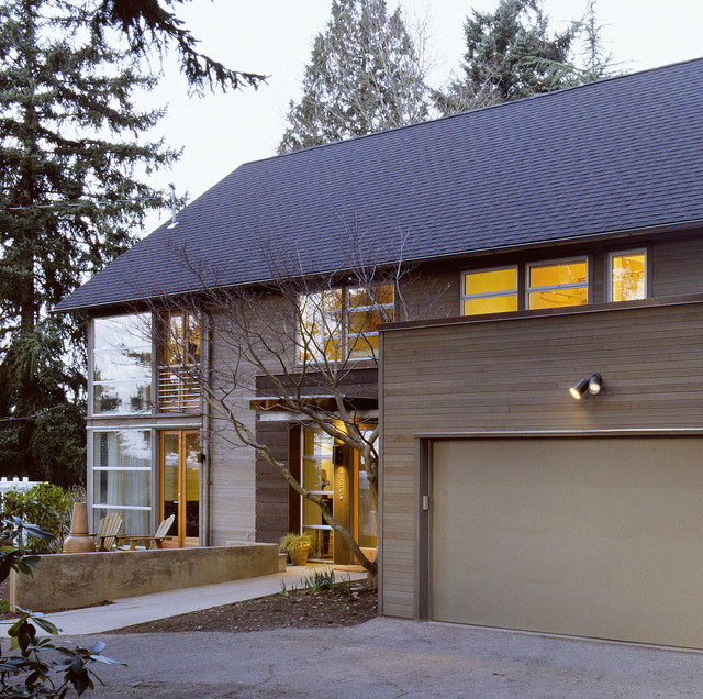 Semi Transparent Stain Exterior Contemporary with Driveway French Doors Neutral