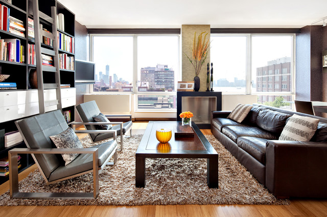 Shaggy Rugs Living Room Modern with Bookshelf Cabinets Brown Leather