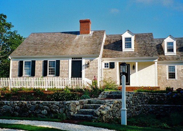 shake shingles Exterior Traditional with brick chimney Cape Cod