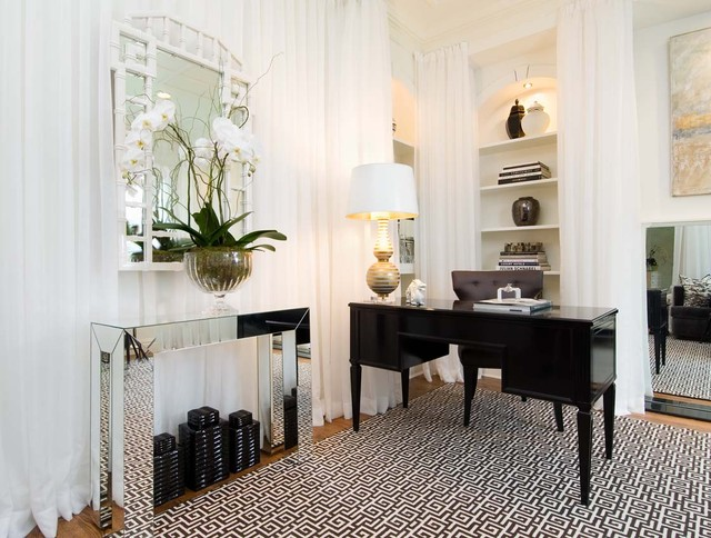 Sheer Drapes Home Office Contemporary with Area Rug Artwork Bamboo
