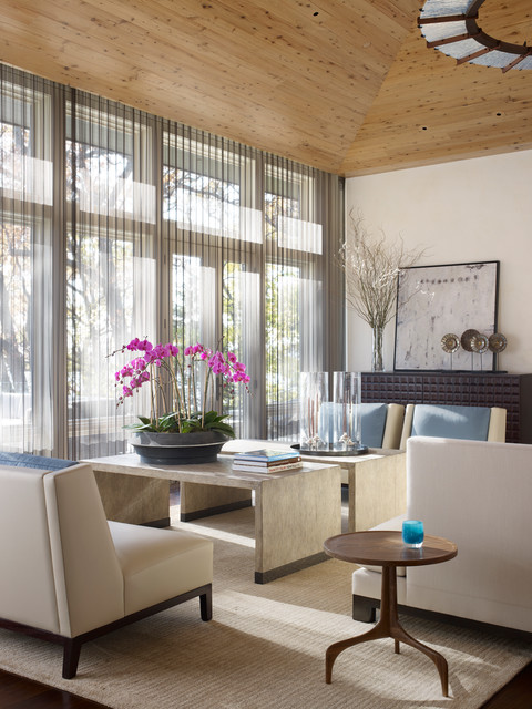 Sheer Drapes Living Room Contemporary with Cabinet Console Cream Lounge