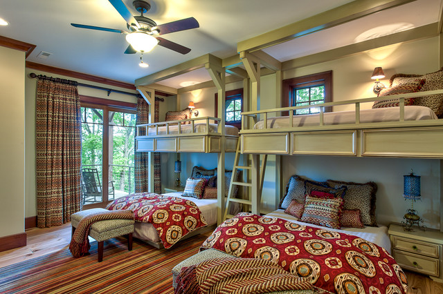 Short Queen Mattress Bedroom Traditional with Animal Print Balcony Beds