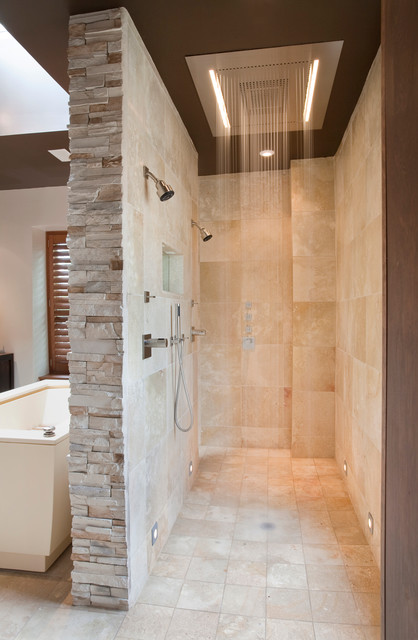 Shower Diverter Bathroom Contemporary with Beige Stone Wall Double