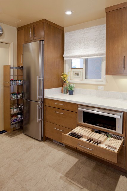 shun knives review Kitchen Contemporary with beige stone floor beige