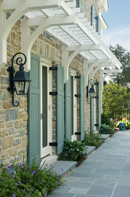 Shutter Hinges Exterior Traditional with Blue Stone Steps French