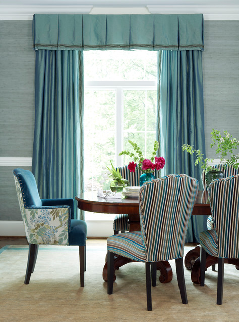 Silk Dupioni Dining Room Traditional with Area Rug Blue Curtains